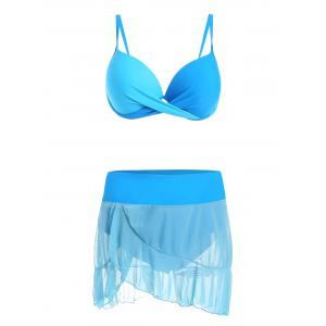 Push Up Bikini Set with Flounce Skirt