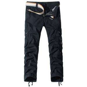 Pockets Embellished Zipper Fly Cargo Pants
