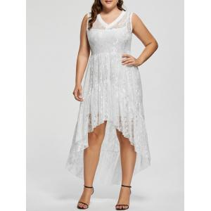 High Low Lace Plus Size Party  Dress - White - 5xl