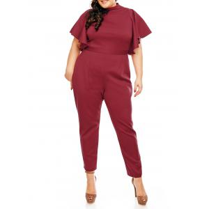 Plus Size High Waist Ruffles Sleeve Jumpsuit