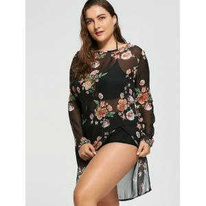 Floral Plus Size Chiffon Sheer Cover-Up - COLORMIX XL