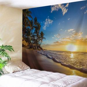 Sunrise Beach Trees Print Tapestry Wall Hanging Art Decoration - W71 Inch * L91 Inch