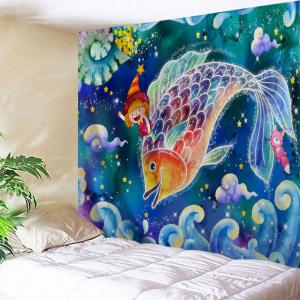 Cartoon Carp Print Tapestry Wall Hanging Art Decoration