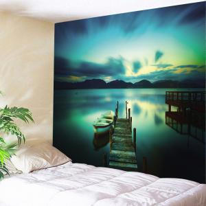 Lake Boat Printed Wall Tapestry - Colormix - W79 Inch * L59 Inch