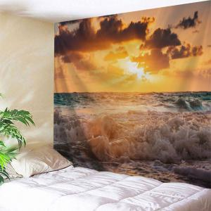 Sunrise Beach Wave Print Tapestry Wall Hanging Art Decoration - W71 Inch * L91 Inch