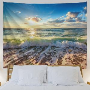 Beach Waves Print Tapestry Wall Hanging Art Decoration -