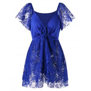 Lace Panel Front Knot Plus Size Blouse