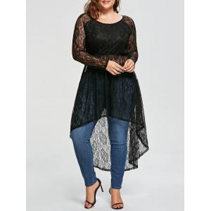 Plus Size Asymmetric See Thru Longline Lace Blouse