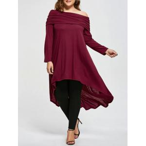 Plus Size Skew Neck Asymmetric Longline Top