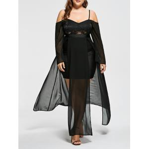 Plus Size Cold Shoulder Flowing Evening Dress - Black - 5xl