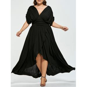 High Low Empire Wasit Plus Size Prom Dress - Black - 5xl