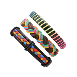 Layered Multicolor Faux Leather Woven Rope Bracelets - COLORFUL