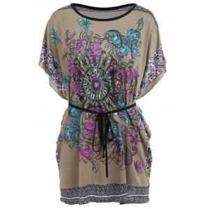 Tribal Print Batwing Sleeve Tunic Tee