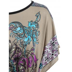 Tribal Print Batwing Sleeve Tunic Tee - FLORAL ONE SIZE