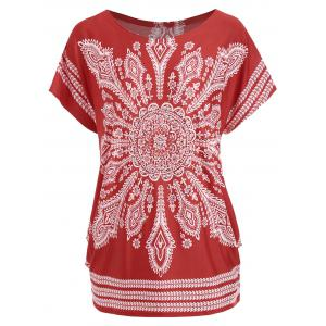 Tribal Print Beaded Tunic Tee