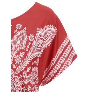 Tribal Print Beaded Tunic Tee - RED ONE SIZE