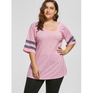 Plus Size Heather Skew Collar Tunic Top - LIGHT PINK XL