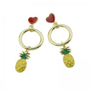 Cute Circle Heart Fruit Drop Earrings - GREEN