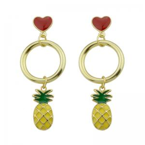 Cute Circle Heart Fruit Drop Earrings