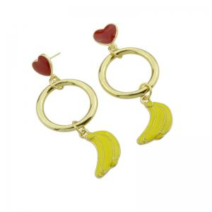 Cute Circle Heart Fruit Drop Earrings - YELLOW
