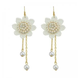 Faux Pearl Crochet Lace Flower Chain Earrings