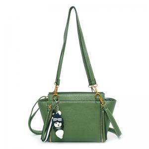 Zippers Textured Leather Shoulder Bag - Green - 38