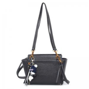 Zippers Textured Leather Shoulder Bag
