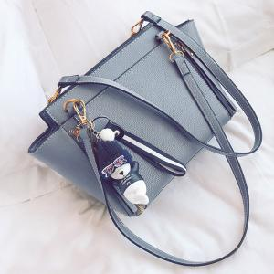 Zippers Textured Leather Shoulder Bag - GRAY
