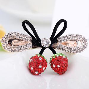 Double Strawberry Embellished Rhinestone Bowknot Barrette - Red - S