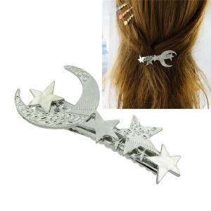 Star Moon Hair Decoration Barrette - Silver