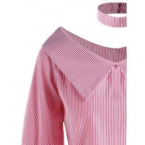 Pinstripe Flat Collar Blouse with Choker -