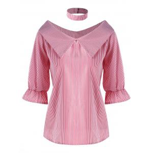 Pinstripe Flat Collar Blouse with Choker - Pink - 2xl