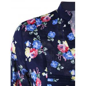 Allover Floral Split Neck Curved Hem Shirt -