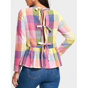 Bowknot Back Long Sleeve Peplum Blouse