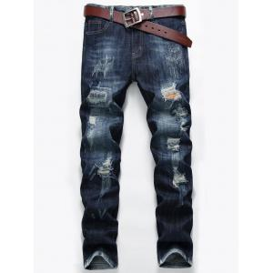 Zip Fly Straight Leg Distressed Jeans