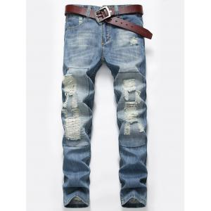 Zip Fly Distressed Faded Jeans