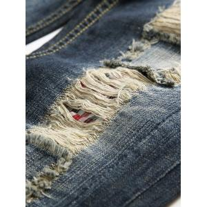 Zip Fly Distressed Faded Jeans - Bleu Foncé 40