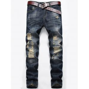 Zip Fly Distressed Faded Jeans - Deep Blue - 34