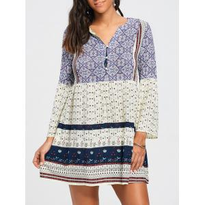 V Neck Tribal Print Tunic Swing Dress