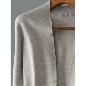 Button Up Collarless Cardigan - GRAY 3XL