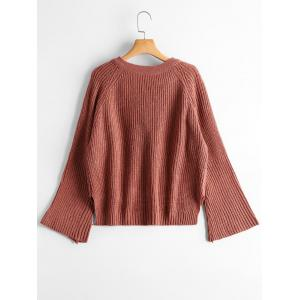 High Low Lace Up Flare Sleeve Sweater - BRICK-RED ONE SIZE