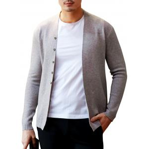 Button Up Collarless Cardigan