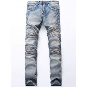 Zip Fly Light Wash Biker Jeans