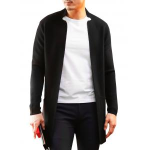 Notched Collar Open Longline Cardigan - Black - Xl