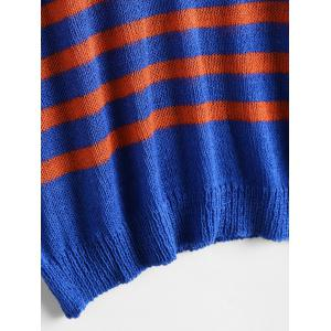 Slit Sleeve V Neck Striped Sweater - BLUE AND RED ONE SIZE