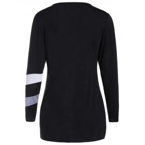 Long Sleeves Tunic Color Block T-shirt - BLACK S