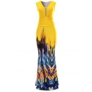 Sleeveless Printed Maxi Evening Dress