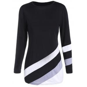 Long Sleeves Tunic Color Block T-shirt