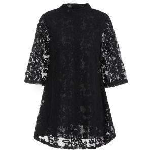 Overlay Mock Neck Min Lace Dress