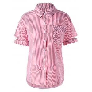 Flap Pocket Striped Short Sleeve Shirt - Pink - 2xl